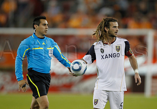 01 April 2010:.Real Salt Lake midfielder Kyle Beckerman (5) shows his frustration with the referees in the first half of the Real Salt Lake vs. Houston Dynamo soccer match at John O'Quinn Field at Robertson Stadium on Thursday April 1, 2010 in Houston, Texas. Houston won 2-1.