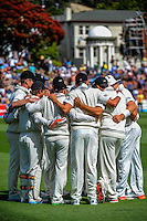 The Black Caps wait for Sri Lanka to start their first batting innings during day one of the 2nd cricket test match between the New Zealand Black Caps and Sri Lanka at the Hawkins Basin Reserve, Wellington, New Zealand on Saturday, 3 February 2015. Photo: Dave Lintott / lintottphoto.co.nz