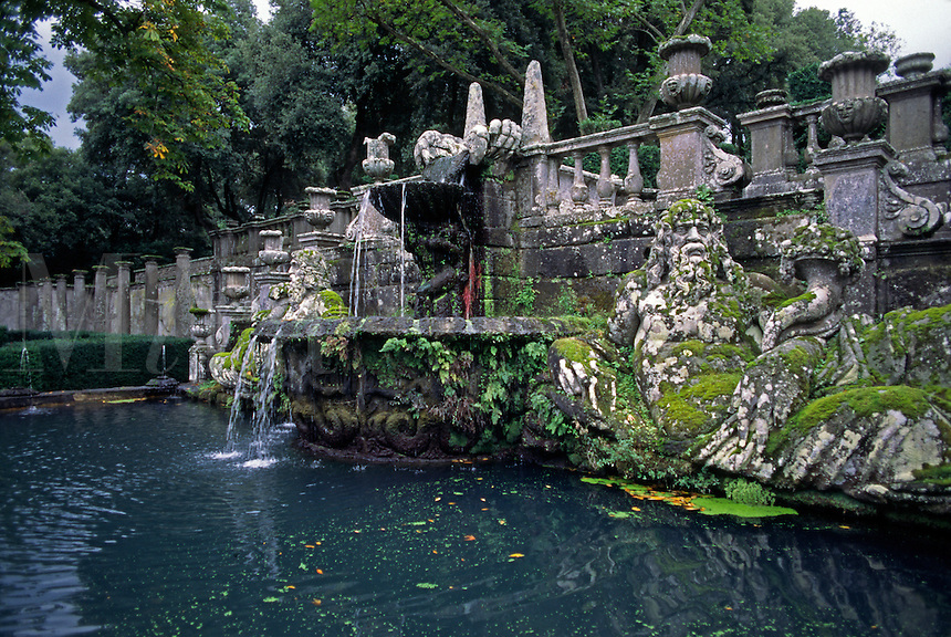Fountain with stone Giants Tiber & Arno (Rivers rep. Rome & Florence) of VILLA LANTE (Italian Renaissance Garden, 1566) in the town of VITERBO - TUSCANY, ITALY