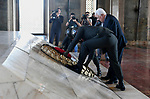 Palestinian President Mahmoud Abbas lays a wreath at the tomb of Mustafa Kemal Ataturk, the founder of the republic of Turkey in Ankara, Turkey, August 28, 2017. Photo by Osama Falah
