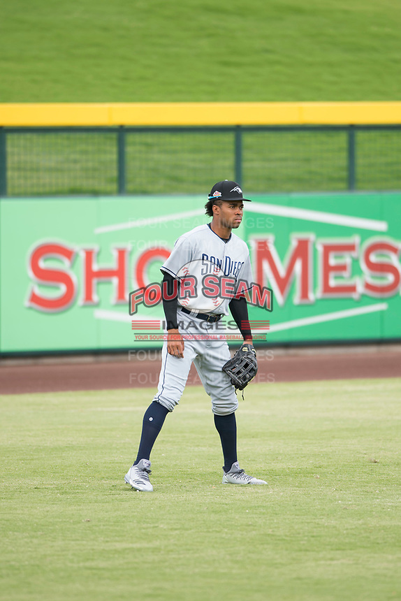 Peoria Javelinas left fielder Buddy Reed (85), of the San Diego Padres organization, during an Arizona Fall League game against the Mesa Solar Sox at Sloan Park on October 11, 2018 in Mesa, Arizona. Mesa defeated Peoria 10-9. (Zachary Lucy/Four Seam Images)