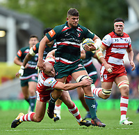 Mike Williams of Leicester Tigers is tackled by Willi Heinz of Gloucester Rugby. Aviva Premiership match, between Leicester Tigers and Gloucester Rugby on September 16, 2017 at Welford Road in Leicester, England. Photo by: Patrick Khachfe / JMP
