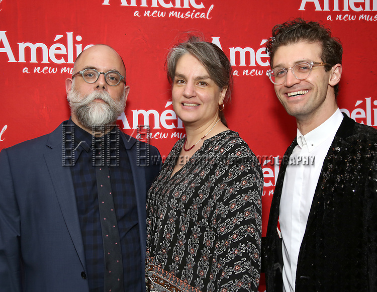 David Zinn, Pam MacKinnon and Sam Pinkleton attend the Broadway Opening Night performance of 'Amelie' at the Walter Kerr Theatre on April 3, 2017 in New York City
