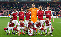 Arsenal pre match team photo (back row l-r) Ainsley Maitland-Niles, Mohamed Elneny, Reiss Nelson, Goalkeeper Matt Macey, Olivier Giroud & Rob Holding (front row l-r) Joe Willock, Francis Coquelin, Theo Walcott, Jack Wilshere & Mathieu Debuchy during the UEFA Europa League group stage match between Arsenal and FC Red Star Belgrade at the Emirates Stadium, London, England on 2 November 2017. Photo by Andy Rowland.