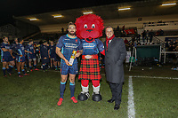 Miles MANTELLA of London Scottish is presented with the Man of the Match award after the Championship Cup match between London Scottish Football Club and Ealing Trailfinders at Richmond Athletic Ground, Richmond, United Kingdom on 23 November 2018. Photo by David Horn/PRiME Media Images