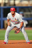 Palm Beach Cardinals first baseman Jonathan Rodriguez #28 during a game against the Charlotte Stone Crabs at Charlotte Sports Park on April 7, 2013 in Port Charlotte, Florida.  Palm Beach defeated Charlotte 8-1.  (Mike Janes/Four Seam Images)
