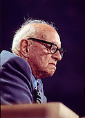 Alf Landon, the 1936 Republican nominee for President of the United States, makes remarks to the delegates from the podium of the 1976 Republican National Convention at the Kemper Arena in Kansas City, Missouri on August 17, 1976.  <br /> Credit: Arnie Sachs / CNP