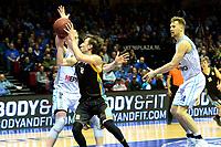 GRONINGEN - Basketbal, Donar - Den helder Suns, Martiiniplaza,  kwartfinale playoff, seizoen 2018-2019,  30-04-2019,   Den Helder speler Boy van Vliet in duel met Donar speler Rienk Mast