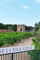 Domaine la Tour Vieille. Collioure. Roussillon. The gate. The vineyard. France. Europe. Vineyard.