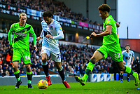 Blackburn Rovers' Bradley Dack takes on Norwich City's Todd Cantwell and Jamal Lewis<br /> <br /> Photographer Alex Dodd/CameraSport<br /> <br /> The EFL Sky Bet Championship - Blackburn Rovers v Norwich City - Saturday 22nd December 2018 - Ewood Park - Blackburn<br /> <br /> World Copyright © 2018 CameraSport. All rights reserved. 43 Linden Ave. Countesthorpe. Leicester. England. LE8 5PG - Tel: +44 (0) 116 277 4147 - admin@camerasport.com - www.camerasport.com
