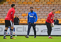 Lincoln City manager Danny Cowley, centre, during the pre-match warm-up<br /> <br /> Photographer Andrew Vaughan/CameraSport<br /> <br /> The EFL Sky Bet League Two - Port Vale v Lincoln City - Saturday 14th April 2018 - Vale Park - Burslem<br /> <br /> World Copyright &copy; 2018 CameraSport. All rights reserved. 43 Linden Ave. Countesthorpe. Leicester. England. LE8 5PG - Tel: +44 (0) 116 277 4147 - admin@camerasport.com - www.camerasport.com