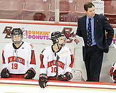 Nicole Fox (NU - 19), Autumn Prouty (NU - 10), Dave Flint (NU - Head Coach) - The Harvard University Crimson defeated the Northeastern University Huskies 4-3 (SO) in the opening round of the Beanpot on Tuesday, February 8, 2011, at Conte Forum in Chestnut Hill, Massachusetts.