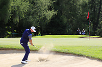 Peter Hanson (SWE) chips from a bunker at the 15th green during Thursday's Round 1 of the 2017 Omega European Masters held at Golf Club Crans-Sur-Sierre, Crans Montana, Switzerland. 7th September 2017.<br /> Picture: Eoin Clarke | Golffile<br /> <br /> <br /> All photos usage must carry mandatory copyright credit (&copy; Golffile | Eoin Clarke)