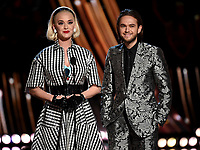 LOS ANGELES- MARCH 14: L-R: Katy Perry and Zedd appear on the 2019 iHeartRadio Music Awards at the Microsoft Theater on March 14, 2019 in Los Angeles, California. (Photo by Frank Micelotta/Fox/PictureGroup)
