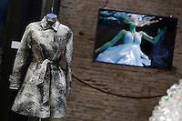 Max Mara<br /> Roma 03-04-2016 Terme di Diocleziano. Mostra 'In Acqua: H2O molecole di creativita'. Decine di stilisti hanno creato, per l'occasione, abiti, accessori e gioielli che richiamano l'acqua.<br /> Diocleziano Thermae. Exhibition 'In water: H2O molecules of creativity'.Tens of famous stylists created dresses, accessories and jewels that recall water.<br /> Photo Samantha Zucchi Insidefoto