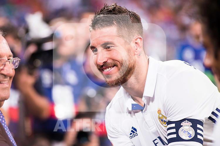 Real Madrid's player Sergio Ramos during the XXXVII Santiago Bernabeu Trophy in Madrid. August 16, Spain. 2016. (ALTERPHOTOS/BorjaB.Hojas)