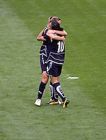LA Sol's Marta and Camille Abily celebrate the second goal of the match. The LA Sol defeated the Washington Freedom 2-0 in the opening game of Womens Professional Soccer at Home Depot Center stadium on Sunday March 29, 2009.  .
