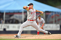 Greenville Drive starting pitcher Jhonathan Diaz (31) delivers a pitch during a game against the Beer City Tourists at McCormick Field on May 24, 2018 in Asheville, North Carolina. The Tourists defeated the Drive 4-2. (Tony Farlow/Four Seam Images)