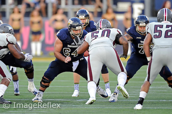 19 September 2015:  FIU center Michael Montero (64) protects the line in the second quarter as the FIU Golden Panthers defeated the North Carolina Central University Eagles, 39-14, at FIU Stadium in Miami, Florida.