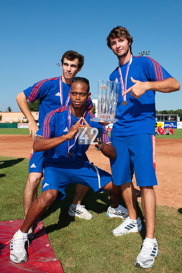 22 August 2010: Luis de la Rosa, Andy Pitcher, Jonathan Dechelle, pose with the trophy at the 2010 European Championship, under 21, in Brno, Czech Republic.