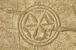Israel, Shephelah, Rosette design at the ancient Synagogue of Hurvat Rimon