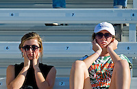 Sept. 19, 2010; Concord, NC, USA; NHRA fans plug their ears during the O'Reilly Auto Parts NHRA Nationals at zMax Dragway. Mandatory Credit: Mark J. Rebilas-