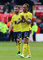 Blackburn Rovers' Elliott Bennett applauds the fans at the final whistle <br /> <br /> Photographer David Shipman/CameraSport<br /> <br /> The EFL Sky Bet Championship - Nottingham Forest v Blackburn Rovers - Saturday 13th April 2019 - The City Ground - Nottingham<br /> <br /> World Copyright © 2019 CameraSport. All rights reserved. 43 Linden Ave. Countesthorpe. Leicester. England. LE8 5PG - Tel: +44 (0) 116 277 4147 - admin@camerasport.com - www.camerasport.com