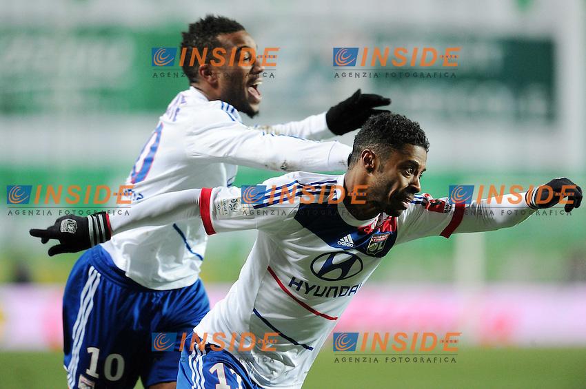 joie de Michel Bastos - Alexandre Lacazette (Lyon) .Football Calcio 2012/2013.Ligue 1 Francia.Foto Panoramic / Insidefoto .ITALY ONLY