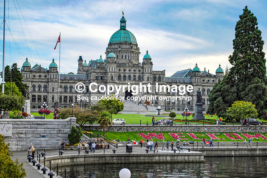 Parliament Building, Victoria, British Columbia, Canada, downtown, harbour, flowers, boats, yachts, 200809081140..Copyright Image from Victor Patterson, 54 Dorchester Park, Belfast, N Ireland, BT9 6RJ...Tel: +44 28 9066 1296.Mob: +44 7802 353836.Email: victorpatterson@mac.com..IMPORTANT: Go to www.victorpatterson.com and click on Terms & Conditions