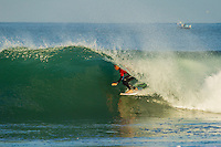 LA GRAVIERE, Hossegor/France (Monday, October 1, 2012)  Mikey Wright (AUS). - The Quiksilver Pro France, Event No. 7 of 10 on the 2012 ASP World Championship Tour (WCT), was put on hold today at La Graviere..The Quiksilver King of the Groms was run instead withe the quarter finals and semi finals completed in clean 1 meter surf. Mikey Wright (AUS) and Kanoa Igarashi (USA) both made it through to the final which will be held later in the week.. Photo: joliphotos.com