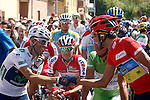 Alejandro Valverde (l), Joaquin Purito Rodriguez (c) and Alberto Contador before the stage of La Vuelta 2012 beetwen Penafiel-La Lastrilla.September 7,2012. (ALTERPHOTOS/Paola Otero)