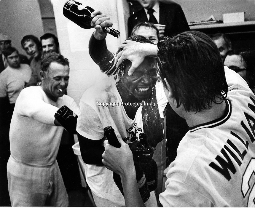 "1972 World Series: Oakland A's wining pitcher John ""Blue moon"" Odom get drenched with champane after beating the Cincinnati Reds in the 7th game of the 1972 World Series. (photo/Ron Riesterer)"
