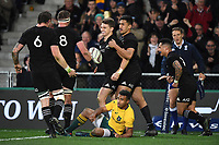 Beauden Barrett scores a try.<br /> Bledisloe Cup and Rugby Championship test match. New Zealand All Blacks v Australian Wallabies at Forsyth Barr Stadium, Dunedin, New Zealand. Saturday 26 August 2017. © Copyright photo: Andrew Cornaga / www.Photosport.nz