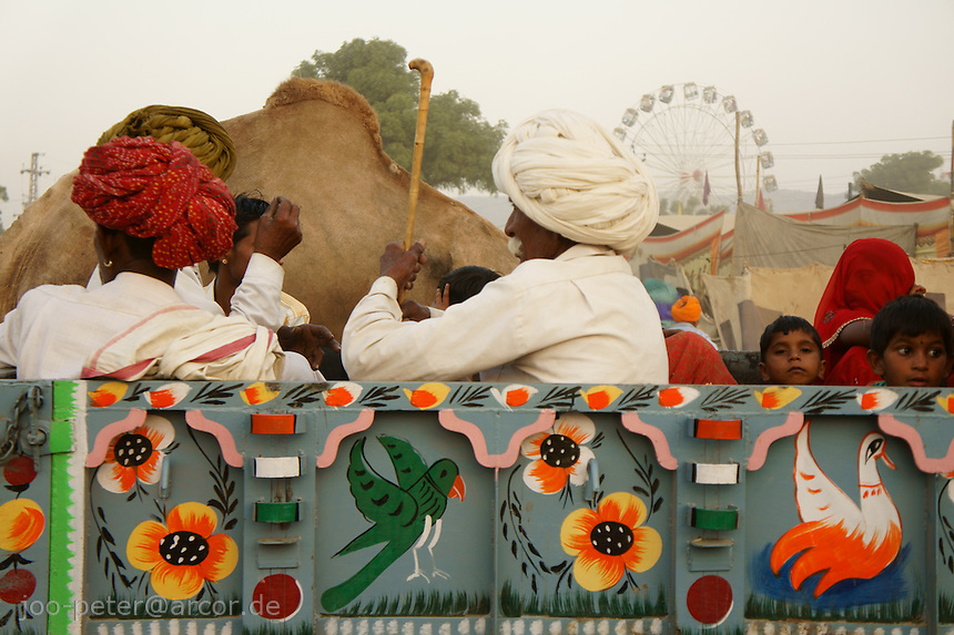 village people on truck ready to leave camel market in Pushkar at the end of market festival time, Rajastan, India