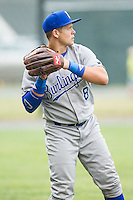 Chase Vallot (8) of the Burlington Royals warms up in the outfield prior to the game against the Pulaski Mariners at Calfee Park on June 20, 2014 in Pulaski, Virginia.  The Mariners defeated the Royals 6-4. (Brian Westerholt/Four Seam Images)