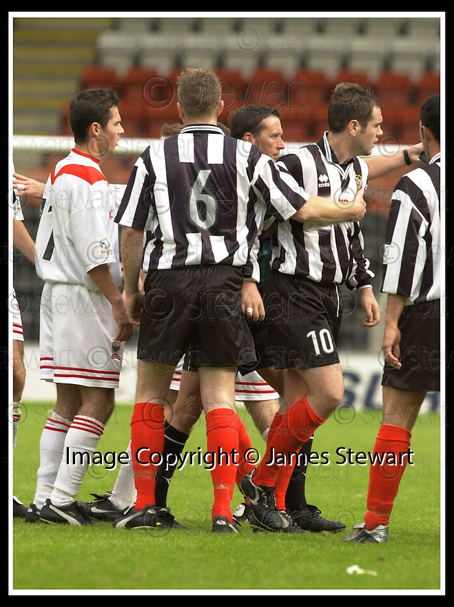 7/9/02       Copyright Pic : James Stewart                     .File Name : stewart-airdrie v elgin 12.ELGIN'S CHRISTOPHER LOVE (10) IS SENT OFF BY REFEREE DOUGIE SMITH....James Stewart Photo Agency, 19 Carronlea Drive, Falkirk. FK2 8DN      Vat Reg No. 607 6932 25.Office : +44 (0)1324 570906     .Mobile : + 44 (0)7721 416997.Fax     :  +44 (0)1324 570906.E-mail : jim@jspa.co.uk.If you require further information then contact Jim Stewart on any of the numbers above.........
