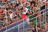 Fans celebrate a goal by Sky Blue FC forward Monica Ocampo (8). Sky Blue FC defeated the Washington Spirit 1-0 during a National Women's Soccer League (NWSL) match at Yurcak Field in Piscataway, NJ, on July 6, 2013.