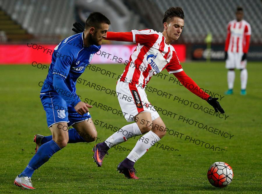 Fudbal Super League season 2016-2017<br /> Crvena Zvezda v Mladost (Lucani)<br /> Luka Adzic and Nikola Andric (L)<br /> Beograd, 01.12.2016.<br /> foto: Srdjan Stevanovic/Starsportphoto&copy;