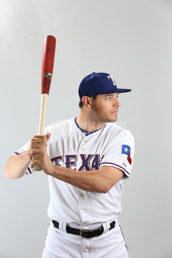 Feb. 20, 2013; Surprise, AZ, USA: Texas Rangers second baseman Ian Kinsler poses for a portrait during photo day at Surprise Stadium. Mandatory Credit: Mark J. Rebilas-