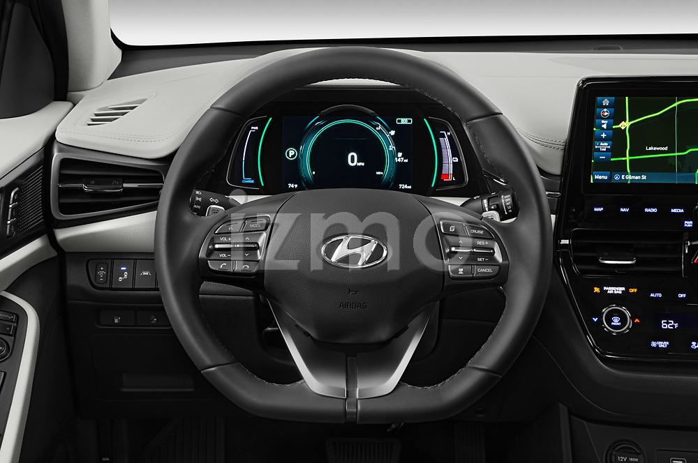 Car pictures of steering wheel view of a 2020 Hyundai Ioniq-Electric Limited 5 Door Hatchback Steering Wheel