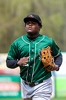 Great Lakes Loons outfielder Starling Heredia (22) jogs in from the outfield between innings during a Midwest League game against the Wisconsin Timber Rattlers on May 12, 2018 at Fox Cities Stadium in Appleton, Wisconsin. Wisconsin defeated Great Lakes 3-1. (Brad Krause/Four Seam Images)