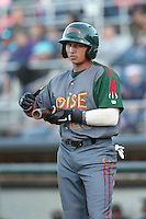 Bryant Flete #28 of the Boise Hawks bats against the Everett AquaSox at Everett Memorial Stadium on July 25, 2014 in Everett, Washington. Everett defeated Boise, 2-1. (Larry Goren/Four Seam Images)