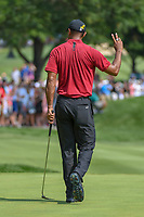 Tiger Woods (USA) sinks his birdie putt on 1 during 4th round of the World Golf Championships - Bridgestone Invitational, at the Firestone Country Club, Akron, Ohio. 8/5/2018.<br /> Picture: Golffile | Ken Murray<br /> <br /> <br /> All photo usage must carry mandatory copyright credit (© Golffile | Ken Murray)