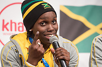 Carrie Russel of the Jamaican women's bobsleigh team smiles at a press conference in the Alpensia centre prior to the Winter Olympics in Pyeongchang, South Korea, 9 February 2018. Photo: Tobias Hase/dpa /MediaPunch ***FOR USA ONLY***