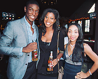 Jamal henderson, Tamara Goodwin, and Aungelique Scott attend Thrillist & FX Present Party Against Humanity at The Den.