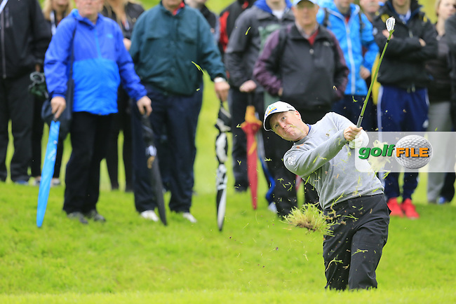 Matt Ford (ENG) plays his 2nd shot on the 17th hole during Thursday's Round 1 of the 2016 Dubai Duty Free Irish Open hosted by Rory Foundation held at the K Club, Straffan, Co.Kildare, Ireland. 19th May 2016.<br /> Picture: Eoin Clarke | Golffile<br /> <br /> <br /> All photos usage must carry mandatory copyright credit (&copy; Golffile | Eoin Clarke)