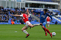 Lewis Coyle of Fleetwood Town is foiled in his attack during the Sky Bet League 1 match between Peterborough and Fleetwood Town at London Road, Peterborough, England on 28 April 2018. Photo by Carlton Myrie.