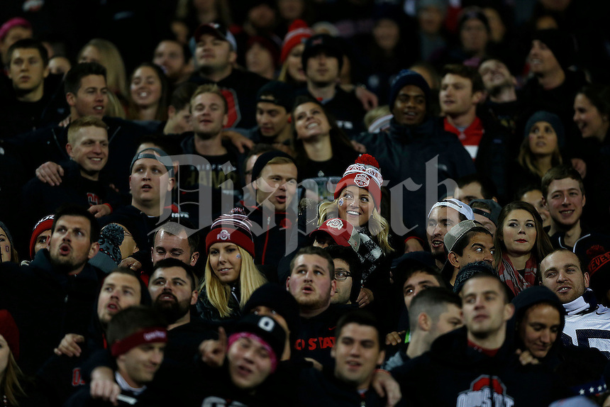 Fans in black during the first quarter of the NCAA football game between the Ohio State Buckeyes and the Penn State Nittany Lions at Ohio Stadium on Saturday, October 17, 2015. (Columbus Dispatch photo by Jonathan Quilter)