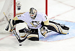 6 February 2010: Pittsburgh Penguins' goaltender Brent Johnson makes a third period save against the Montreal Canadiens at the Bell Centre in Montreal, Quebec, Canada. The Canadiens defeated the Penguins 5-3. Mandatory Credit: Ed Wolfstein Photographer