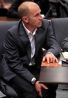 Raniero Busco durante l'udienza conclusiva del processo a suo carico per il delitto di Via Poma, presso la Corte d'Appello di Roma, 27 aprile 2012..UPDATE IMAGES PRESS/Riccardo De Luca